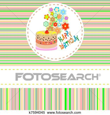Clipart Of Cute Flower And Cake Happy Birthday Background K7594045