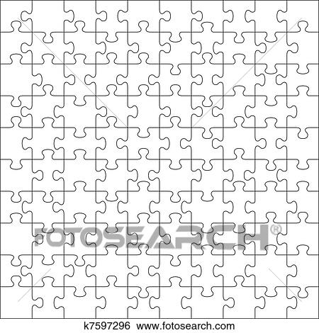 Vector Transparent Jigsaw Puzzle With 100 Pieces