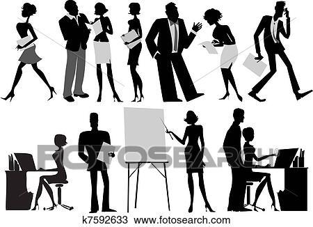 Capo Ufficio Disegno : Clipart lavoratori ufficio silhouette k7592633 cerca clipart
