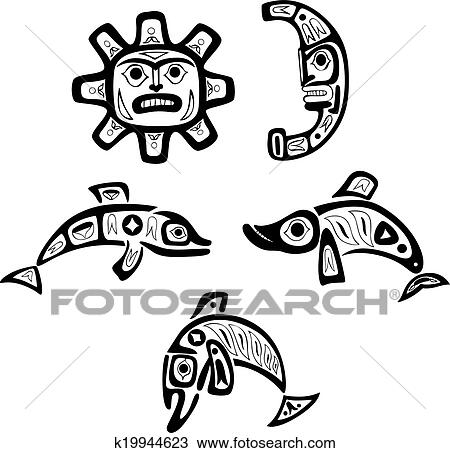 Native Shoshone Tribal Drawings Fish Sun Moon Clipart