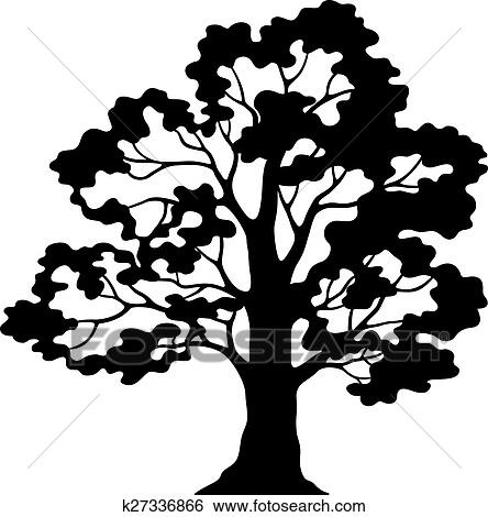Clip Art Of Oak Tree Pictogram Black Silhouette And Contours
