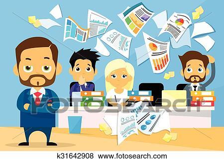 Capo Ufficio Disegno : Clip art persone affari conflitto problema capo squadra
