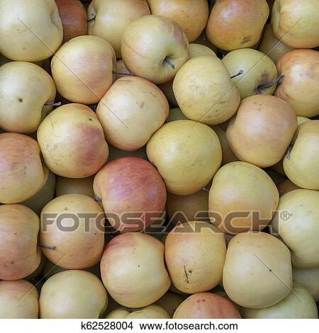 Ripe Apples On A Market Stall Organic Apple Fruits In Pile