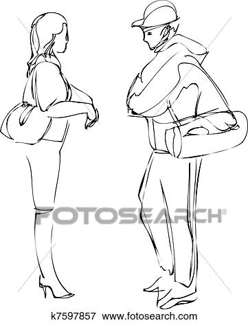 Sketch Of Boy And Girl Talking While Standing Clip Art K7597857