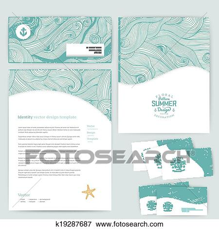 Clip art of vector corporate identity wave pattern abstract maritime banner design template brand visualization corporate identity business set identity design template card envelope maxwellsz