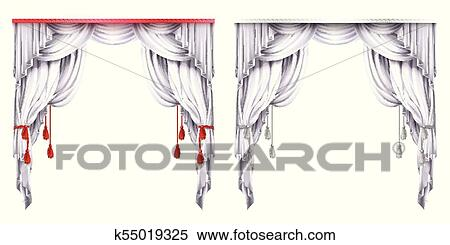 Red curtains Clipart | k28213990 | Fotosearch