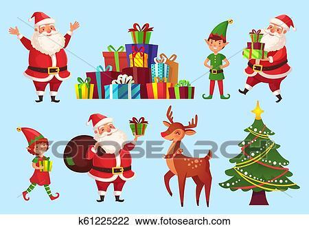 Cartoon Christmas Characters Xmas Tree With Santa Claus