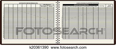clipart of check payment and deposit register k20361390 search