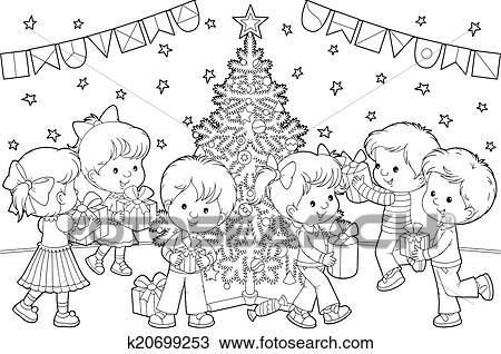 Criancas Com Presentes Natal Desenho K20699253 Fotosearch