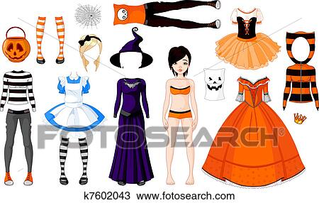 Clipart Of Halloween Girl With Costumes K7602043 Search Clip Art