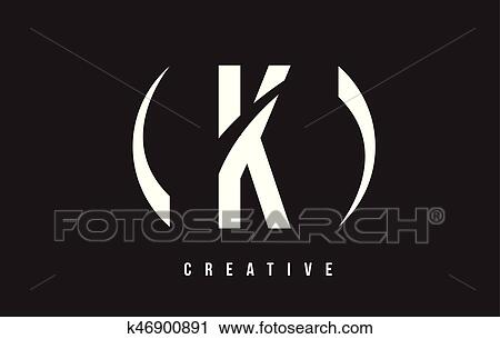 K White Letter Logo Design With Black Background Clipart