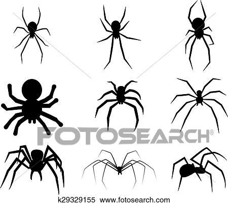 clipart satz von schwarz silhouette spinne symbol freigestellt wei hintergrund. Black Bedroom Furniture Sets. Home Design Ideas