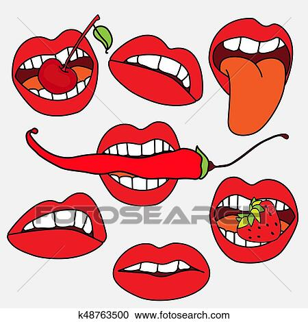 Lips Sticker Collection Sexy Lips With Strawberry Berry Red Pepper Pop Art Lips Clipart K48763500 Fotosearch