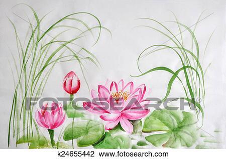 Stock photo of lotus flower watercolor painting k24655442 search lotus flower watercolor painting on rice paper original art asian style mightylinksfo