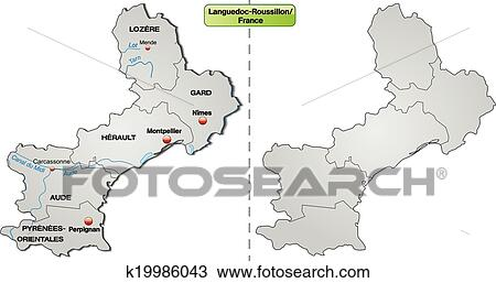 Roussillon France Map.Clipart Of Map Of Languedoc Roussillon K19986043 Search Clip Art
