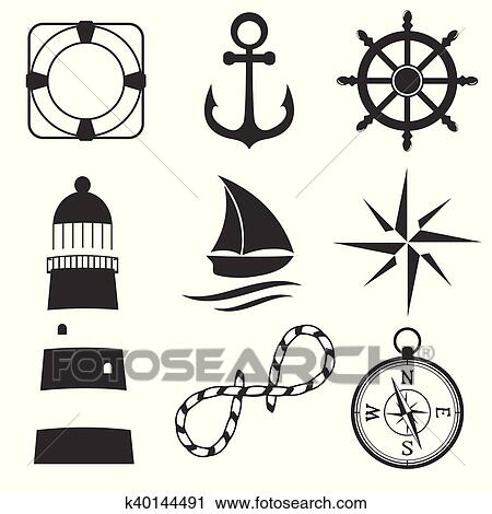 Nautique l ments conception ancre etoile mer roue bateau fish corde cloche lifebuoy - Dessin ancre bateau ...