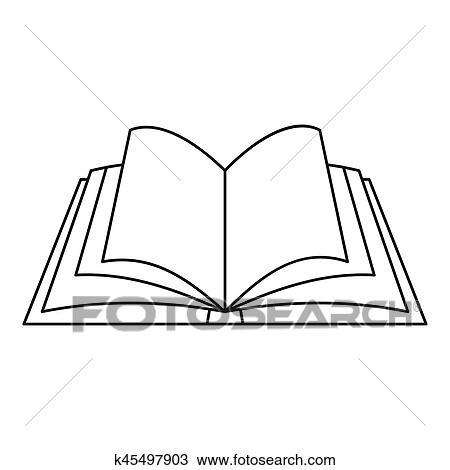 Otwarta Książka Ikona Szkic Styl Rysunek K45497903 Fotosearch