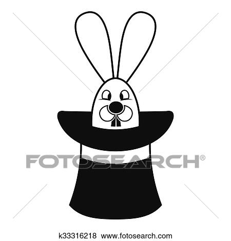 clip art of rabbit appearing from a top magic hat k33316218 search rh fotosearch com Magic Wand Clip Art Magic Clip Art