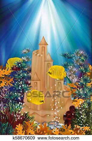 Underwater banner with sand castle, vector illustration ...