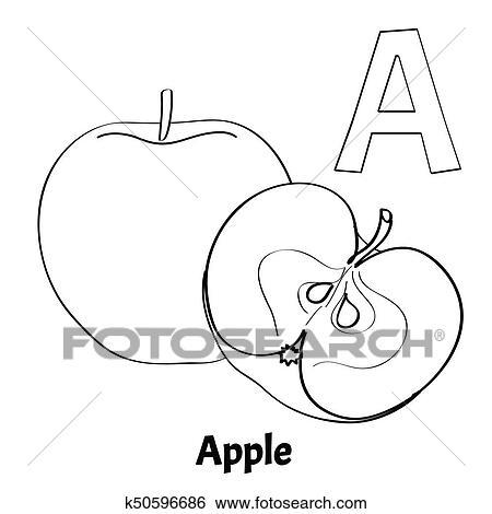 Vector Alphabet Letter A Coloring Page Apple Clip Art K50596686 Fotosearch