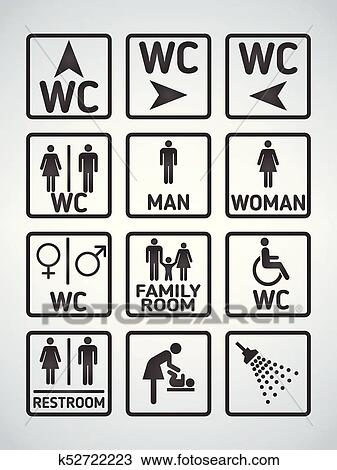 Wc Toilet Door Plate Icons Set Men And Women Wc Sign For Restroom