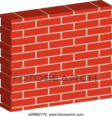 3D Spatial Brick Wall Brickwork With Regular Pattern Isolated On White Editable Vector Graphic