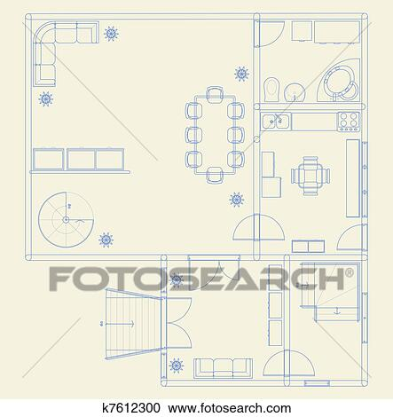 Clipart of building blueprint k7612300 search clip art architectural blue prints with furniture malvernweather Choice Image