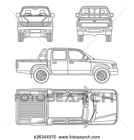 Clipart of car pickup truck 5 passengers vector illustration pickup truck vector illustration blueprint malvernweather Image collections
