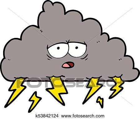 clipart of cartoon storm cloud k53842124 search clip art rh fotosearch com storm cloud with lightning clipart Rain Cloud Clip Art