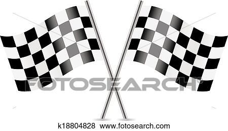 clip art of checkered flags racing flags k18804828 search rh fotosearch com checkered flag clipart free checkered flag banner clipart