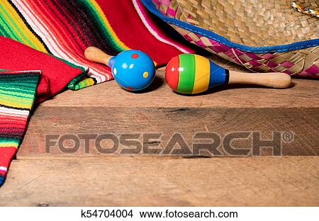 Cinco De Mayo Background Image On With Maracas And Sombrero Wooden Rustic Boards
