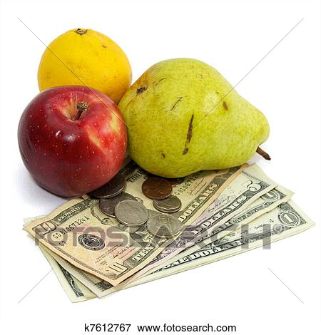 Cost of food fruit and money on white Stock Photo ...