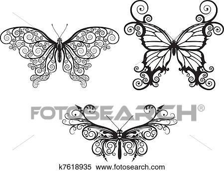 Clipart Estratto Farfalle K7618935 Cerca Clipart Illustrazioni