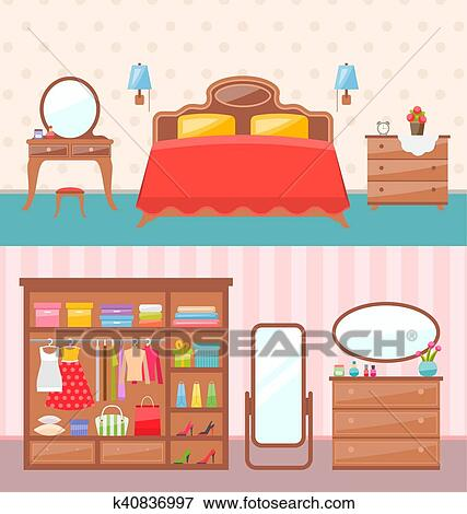 Flat Design Bedroom Interior Vector Ilration Modern