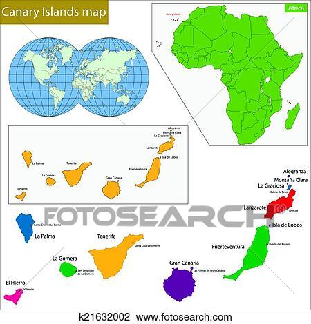 Spanische Inseln Karte.Kanarische Inseln Landkarte Clipart