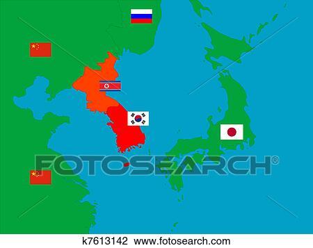 Clipart Of Korean Peninsula And Neighbours K7613142