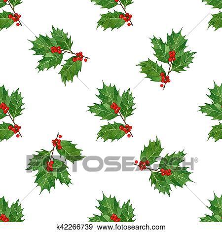 Coleccion De Ilustraciones Navidad Seamless Patron Con Bayas