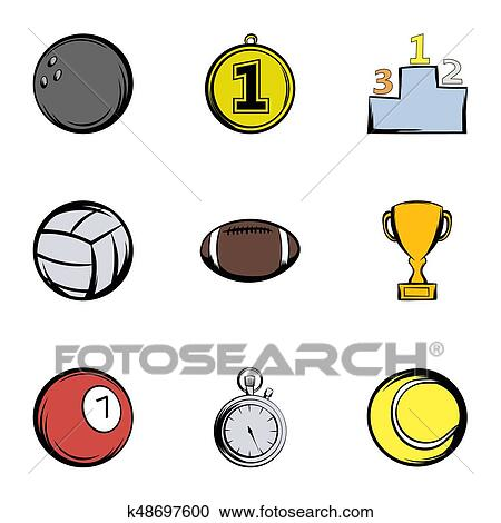 Sport Balls Icons Set Cartoon Style Clipart K48697600 Fotosearch