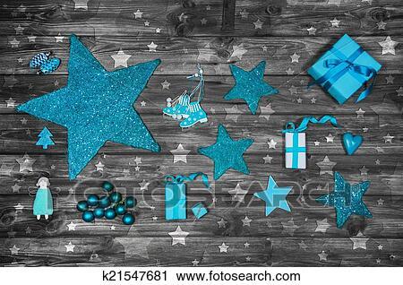 Stock fotografie t rkis oder blau weihnachtsdeko auf - Weihnachtsdeko blau ...