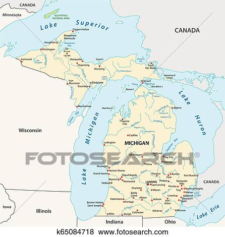 Vector Map Of The U S State Of Michigan Clip Art K65084718 - Map-of-all-us-states