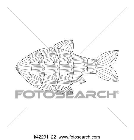 Aquarium Tropischer Fisch Meer Unterwasserwelt Natur Ausgewachsene Schwarz Weiss Zentangle Ausmalbilder Abbildung Clipart K42291122 Fotosearch