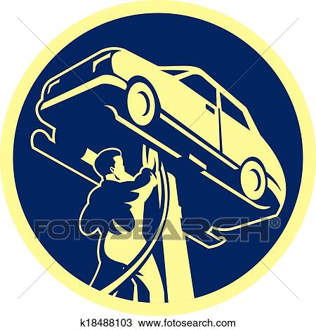 clipart of auto mechanic automobile car repair retro k18488103
