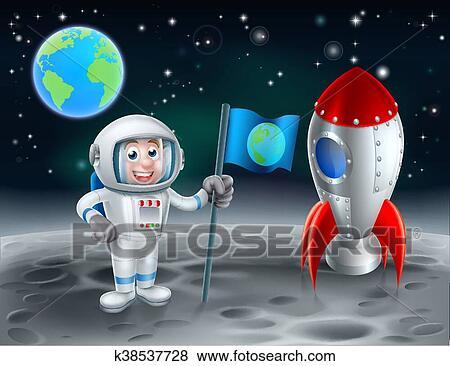 Cartone animato astronauta e razzo su luna clip art