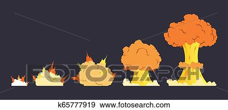 Cartoon explosion effect with smoke  Effect boom, explode flash, bomb comic  book, vector illustration  Animation for game of the explosion effect,