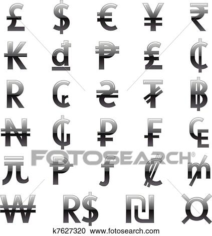 Clipart Of Currency Symbols Of The World K7627320 Search Clip Art