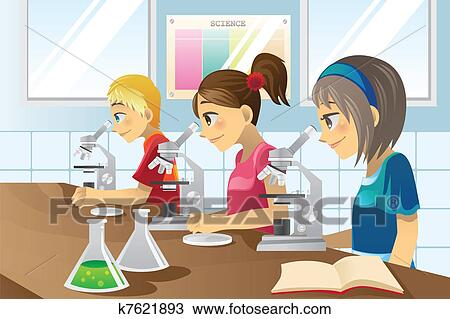clipart of kids in science lab k7621893 search clip art rh fotosearch com science lab clip art black and white science lab equipment clipart