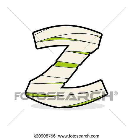 Clip Art of Letter Z Egyptian zombies. Mummy ABC icon coiled medical ...