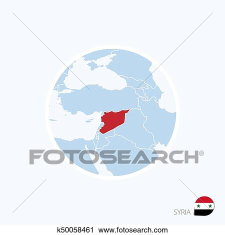 Map icon of Syria. Blue map of Middle East with highlighted Syria in red  color. Clipart