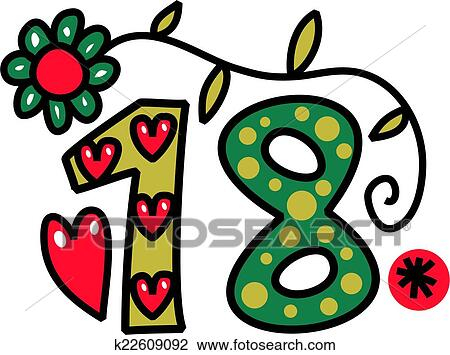 clip art of number eighteen doodle text k22609092 search clipart rh fotosearch com google clipart doodle clip art free