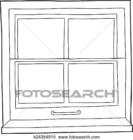 Clipart of outline cartoon window k24354915 search clip art single hand drawn outline of window with four panes thecheapjerseys Gallery